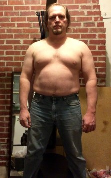 Fat guy transformation (I hope) week 8 of 15 for WHG training. Shirtless, gut hanging out, not flexed.