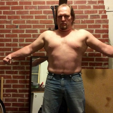 Week 8 of 15 WHG training. Shirtless, flexed. And looking fairly silly doing it.