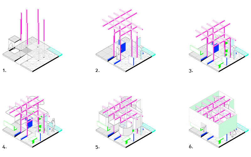 Schemes for Florim Exhibition Competition in Milan.