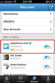 Twitter Promoted Account Mobile Position