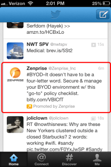 Twitter Mobile Ads Promoted Tweets Position