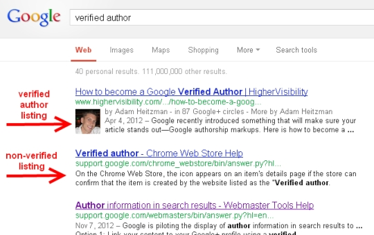 Example of verified author listing