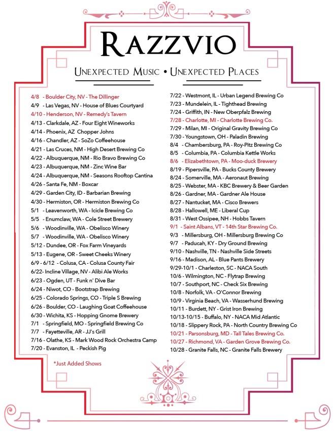 Razzvio 2016 Tour Dates