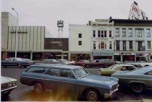 Campbell Shoes, South side of Dexter Avenue as those monster concrete canopies were installed during the urban renewal movement. Circa 1967, new Ford Mustang in the foreground.