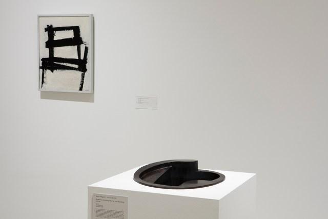 "Isamu Noguchi (American, 1904–1988) Model for Swimming Pool for von Sternberg , 1935/1980. Bronze, 6-3/8 x 14-1/4 x 15-1/4"". Collection Walker Art Center, Minneapolis / Gift of the Artist, 1980. Installed in Walker Art Center's Gallery 4. Photo courtesy of Walker Art Center."