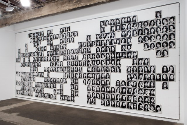 Large Grid, F (Midway Version), 1974 - Present. Laser print on board, monofilament, lead anchors, aluminum. 143 x 323 x 1 inches.