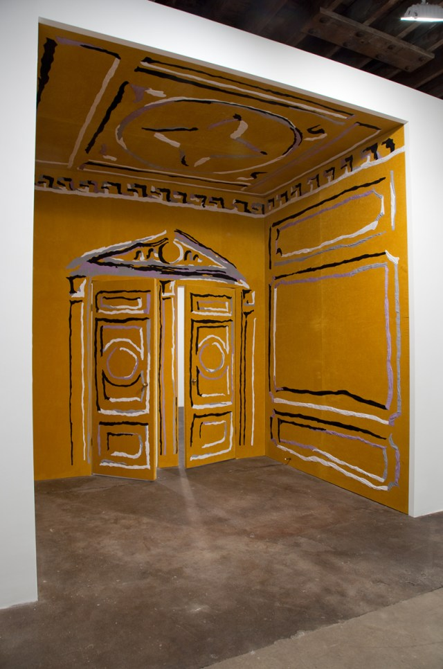 Concern, crush, desire, 2011. Cotton appliqué on velvet, brass doorknobs and door stoppers. 131 x 94 x 115 inches.