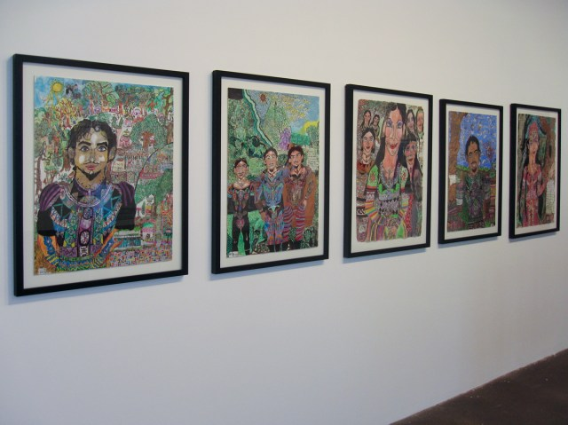 Peder Hagen, left to right: Bosgasio in Yearing Hill; Trip to Gargoyle Quarry; Miscisen and Her Community; Rereltin's Nature; Sybinata's Gifts; All works 2008. Mixed media on paper.
