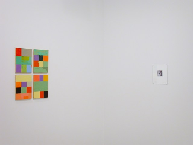 Loaded, installation view. Left: Kasarian Dane, 4 works, each: Untitled, 2002. Oil on panel. Right: Augusto Arbizo, Forest IV, 2002. Acrylic on photograph.