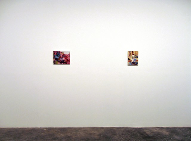 Bruce Tapola, installation view. Left: Motherlode, 2005. Oil on panel. 11 ¾ x 13 ¾ inches. Right: Heavy Is The Head That Wears The Crown, 2006. Oil on canvas. 11 ¾ x 8 ¾ inches.