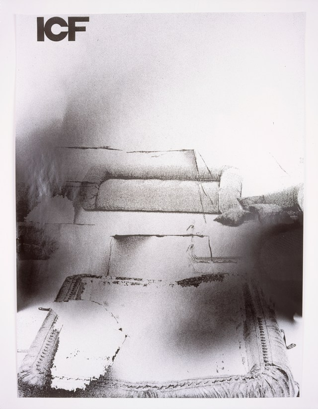 ICF, number 2, 2004. Enamel spray paint on photocopy. 23 x 30.5 inches.