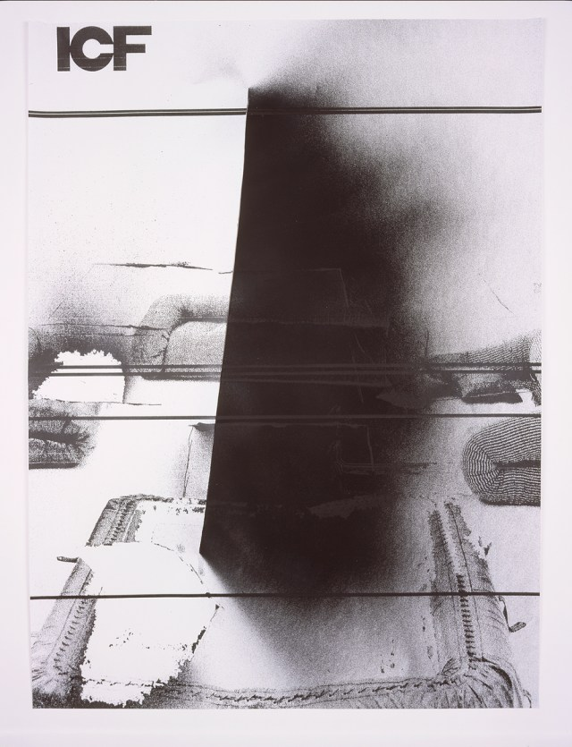 ICF, number 5, 2004. Enamel spray paint on photocopy. 23 x 30.5 inches.