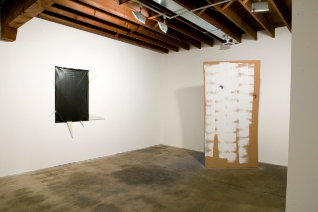 Left: Projecting Its Diagram, 2004. Contractor bag, white garage liner. Right: Owla, 2006. Cardboard, hollow-core doors, latex paint, spray enamel.