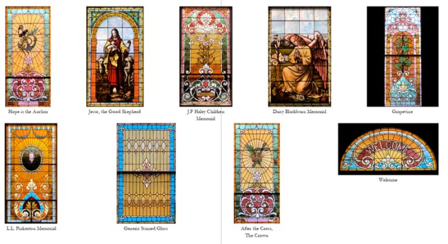 Composite of stained-glass windows pictures used for note cards