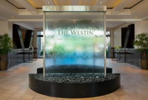 Glass Water Wall at Westin San Francisco Airport California SFO