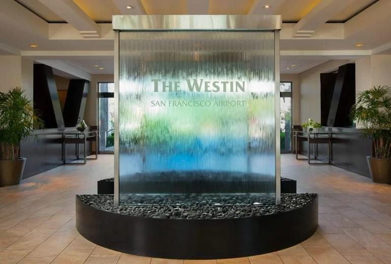 Glass Water Wall at Westin San Francisco Airport California SFO