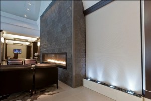 Water Wall Grey Scored Acrylic water feature Rincon Towers San Francisco CA