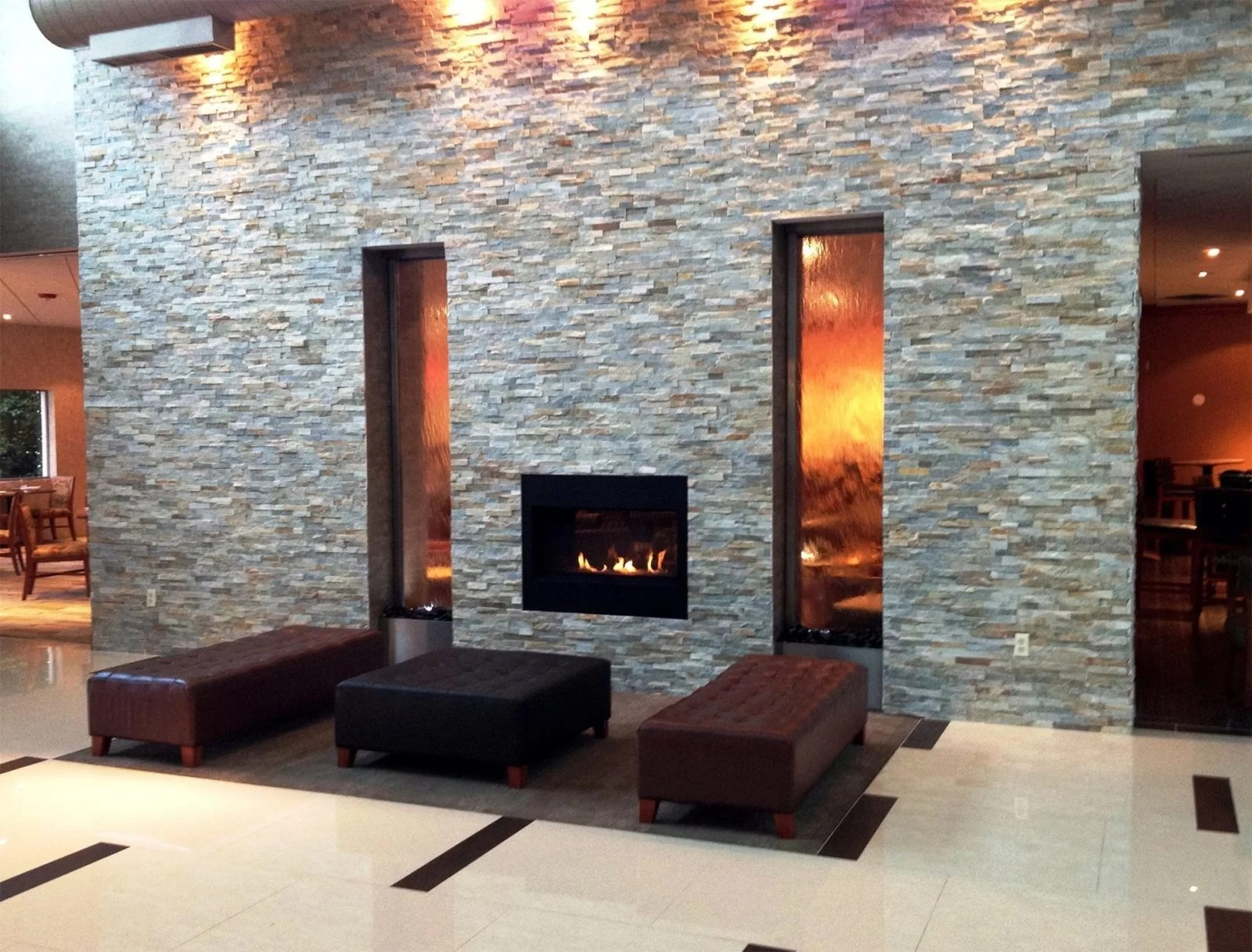Water Walls Holiday Inn Plainview NJ glass water wall with stainless frame