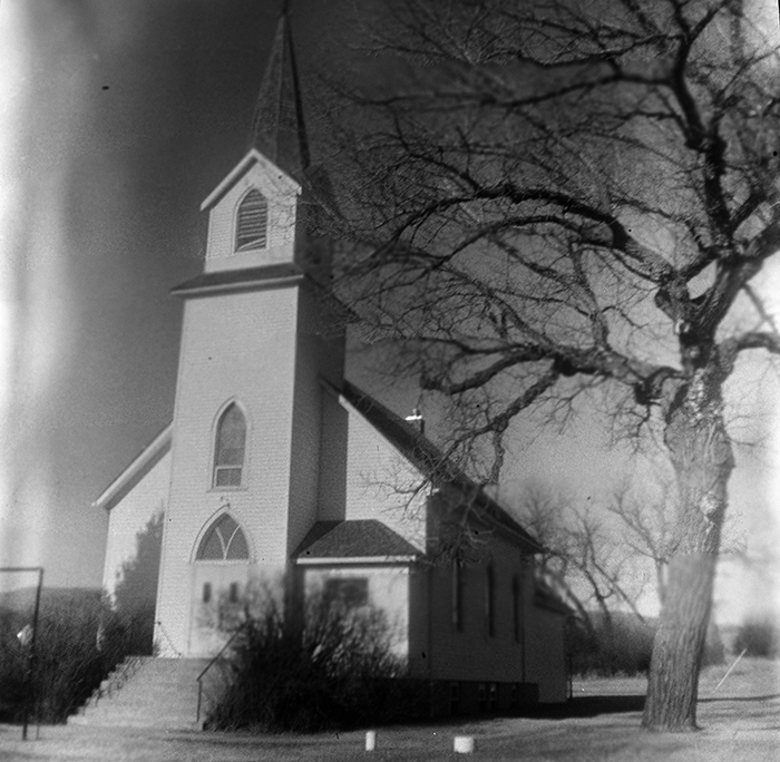 The Sims Church, in Sims N.D. Taken with a Kodak Brownie Hawkeye, made in May of 1955. (Dustin White)