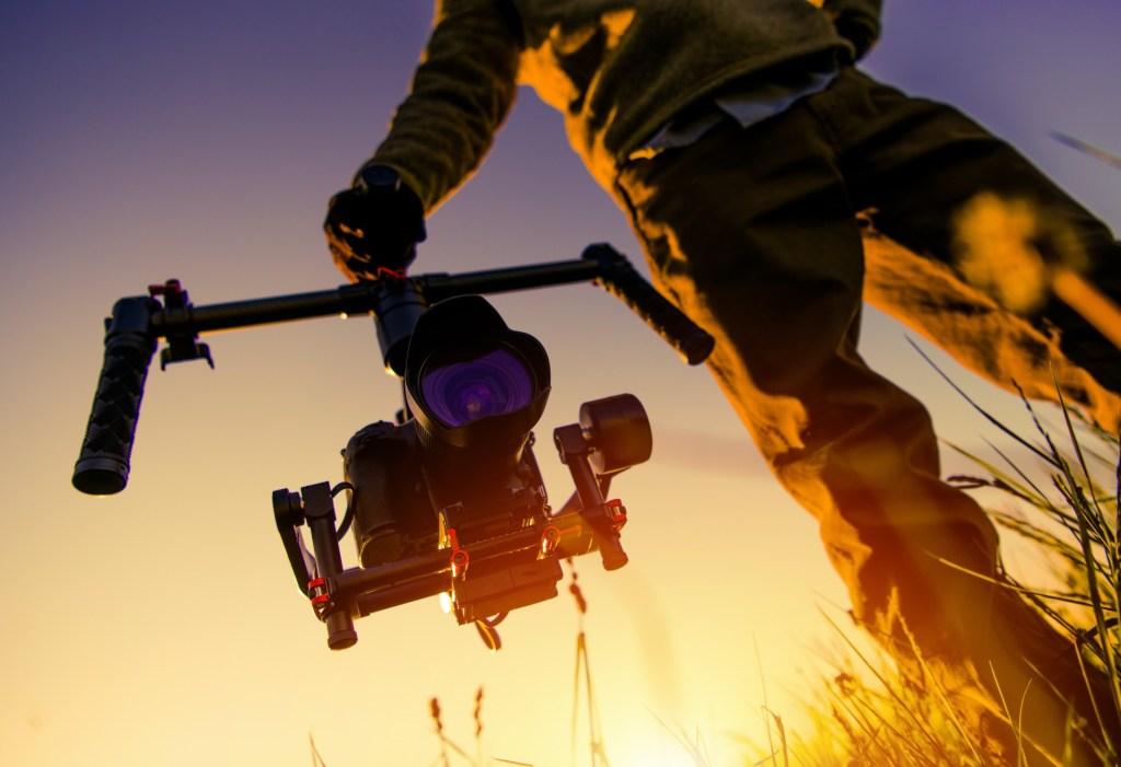 Digital Video Camera Gimbal Stabilization. DSLR Videography Equipment.