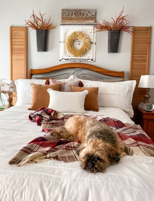 Fall Bedroom with snuggly dog - Midwest Life and Style Blog