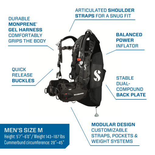 scubapro hydros pro mens bcd with power inflator