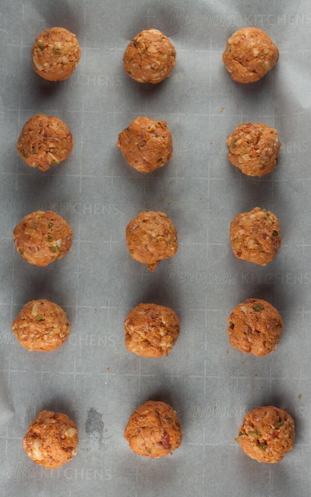 chorizo balls on a sheet pan