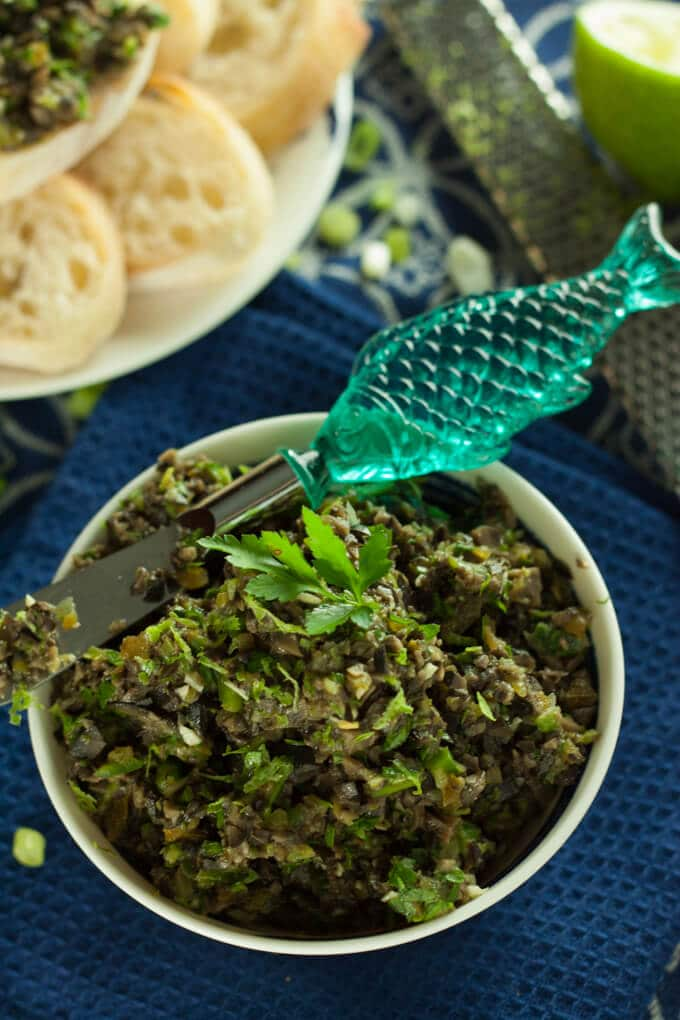 Black olive tapenade up close