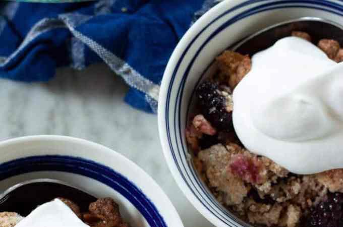 Blackberry Coconut Cobbler with Homemade Whipped Cream