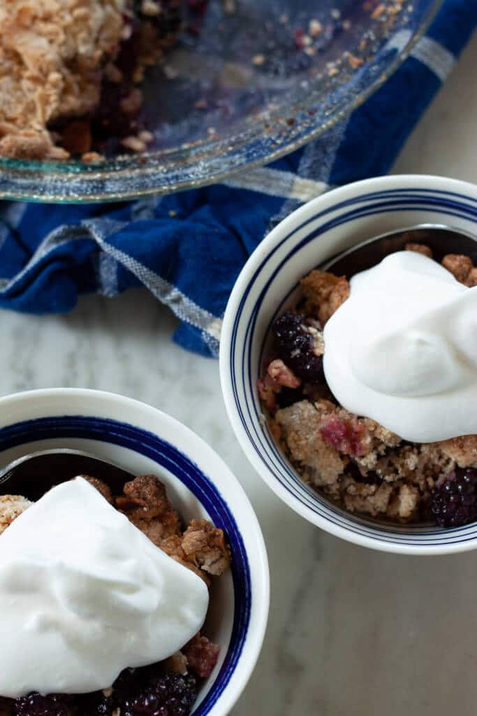 Blackberry Coconut Cobbler with Homemade Whipped Cream