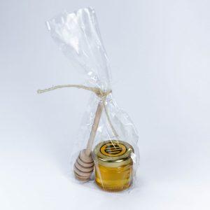 bote minidosis pequeño regalo boda miel cuchara abeja obrera natural puro artesano