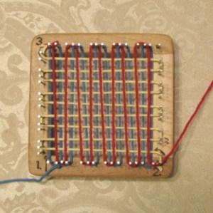 Pin loom weaving, step 3