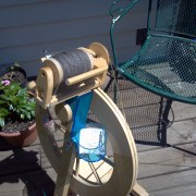 Lendrum Spinning Wheel on the Patio
