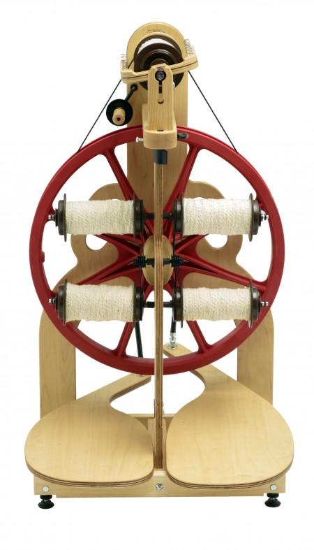 Showing bobbins on bobbin storage of Ladybug spinning wheel.