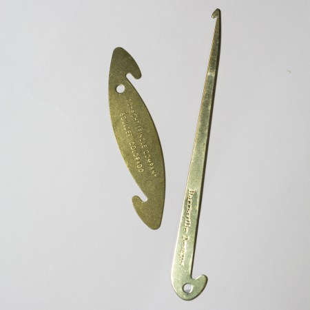 Brass Reed Hook  on the right and Brass Reed/Sley Hook on the left.