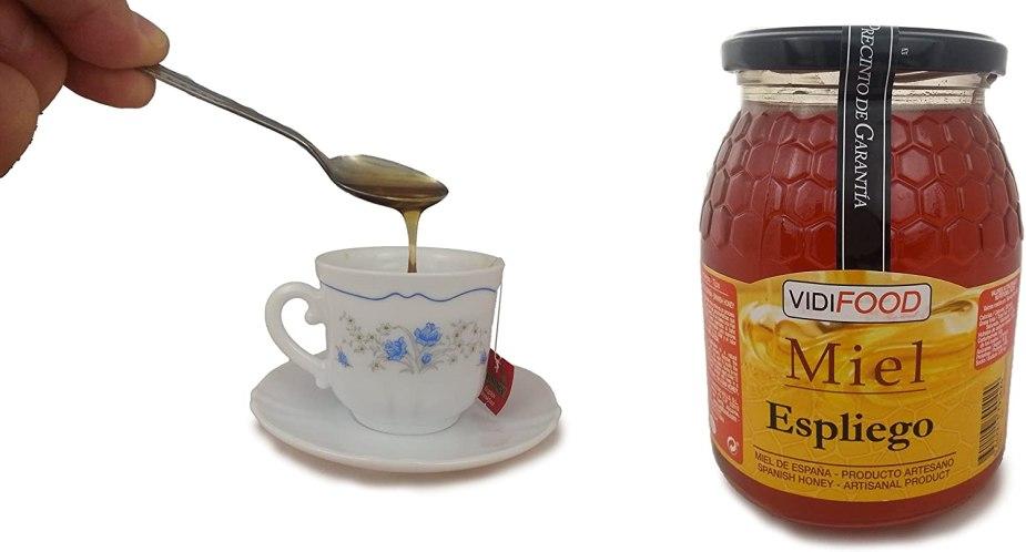 Bote de miel de Espliego o Lavanda y taza de té