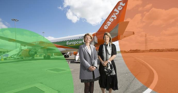 Das Siegel der weiteren Partnerschaft zwischen Europcar und Easyjet ist ein speziell lackiertes Flugzeug. Hier zusammen mit Caroline Parot, CEO Europcar Group und Carolyn McCall, CEO easyJet