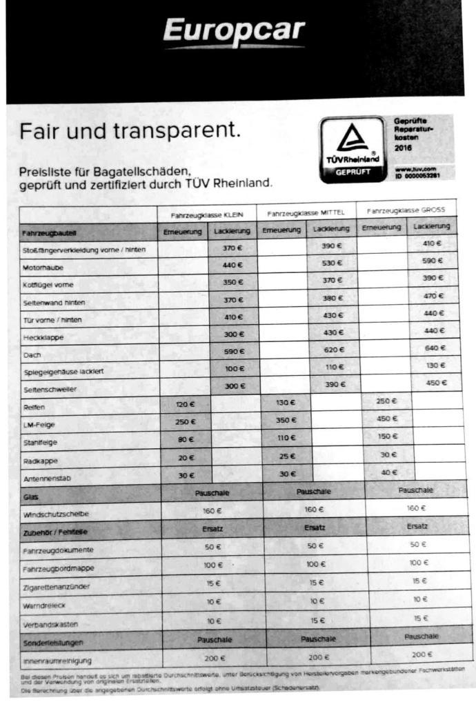 Bagatellschäden bei Europcar werden mit einer Liste pauschal erfasst und direkt bei der Abgabe abgerechnet - ohne weitere Bearbeitungsgebühr