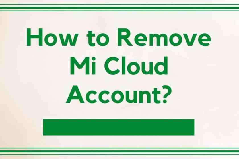 how to remove mi cloud