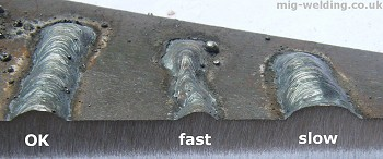 Arc travel speed faults - sectoned weld