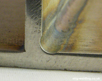 Autogenous TIG fillet weld showing undercut