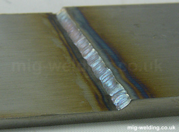 Section of lap weld, 2mm sheet