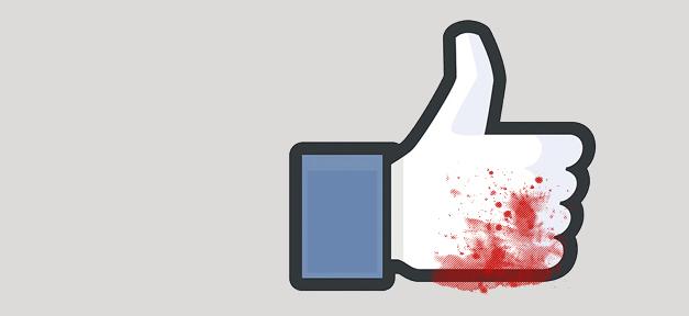 Der Facebook-Like-Button. Hier blutverklebt © Mirza Odabaşı
