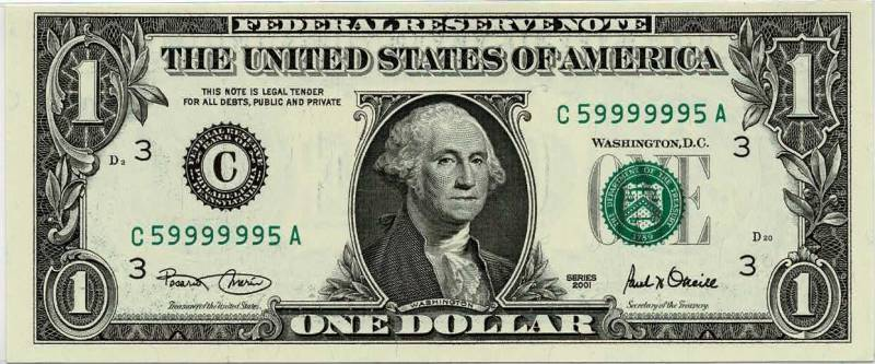 dollar bill with a super radar fancy serial number