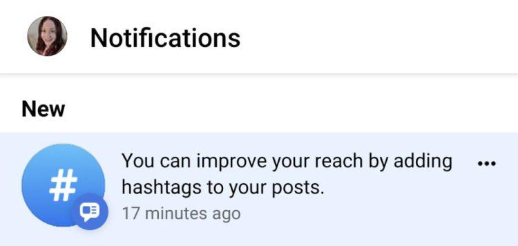 Heather Moonka Mari Smith Facebook Hashtag Notification Example