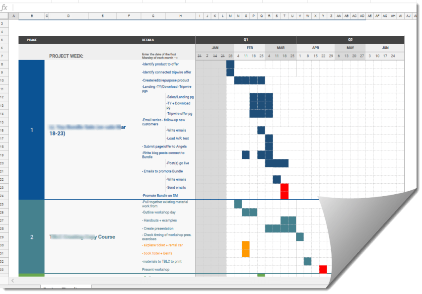 Marketing Project planning gantt chart style in Google Sheets