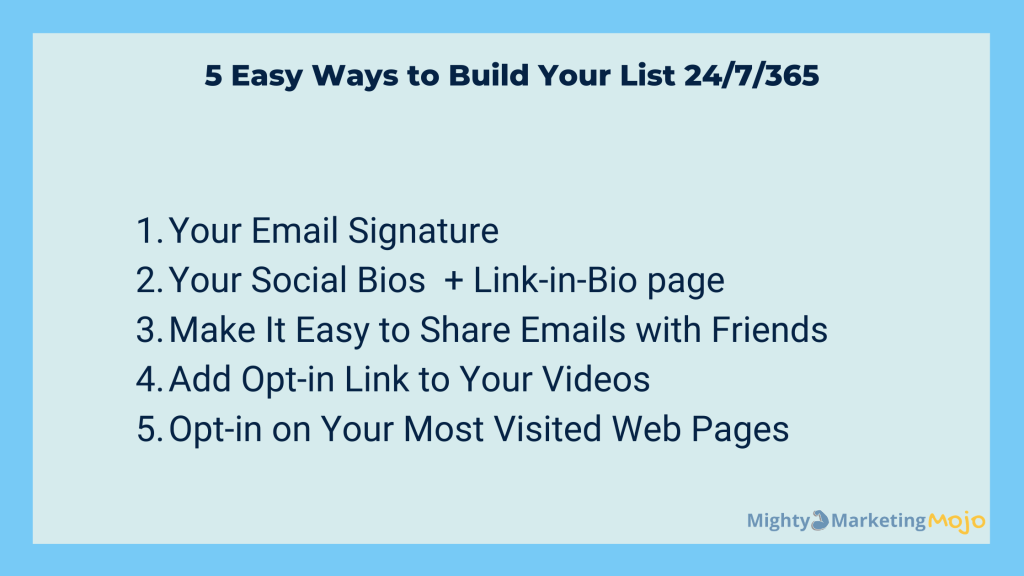 Bullet List 5 Easy Ways Build Email List Don't Overlook