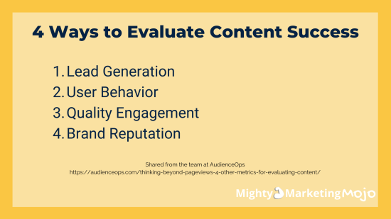 Mighty Marketing recommends 4 metric categories to measure content marketing
