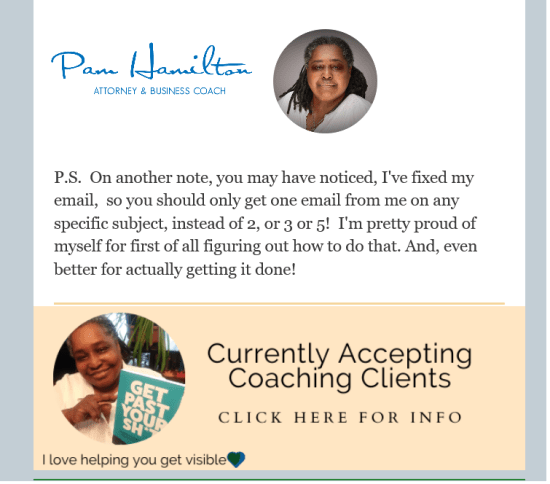 Pam Hamilton Coach email ad coaching offer