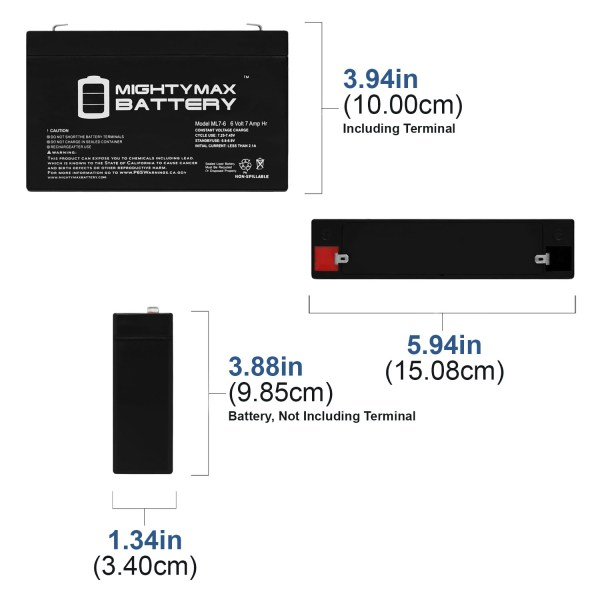 6V 7Ah SLA Battery Replacement for BSB GB6-7.2